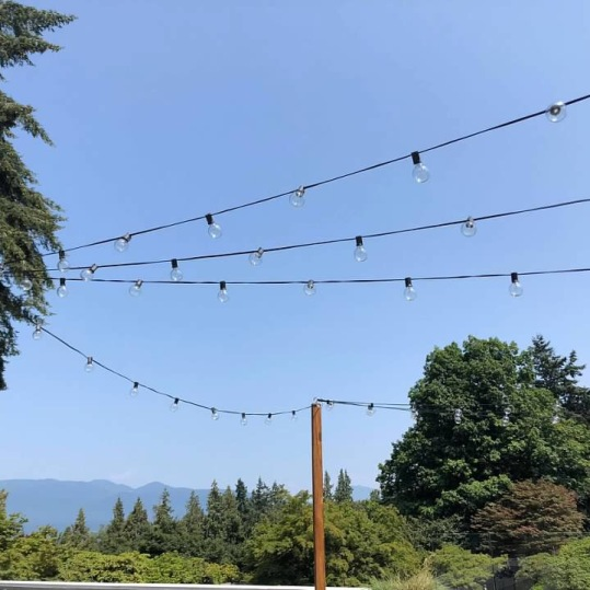Used the Wooden Stands to String Up lights on a cafe patio