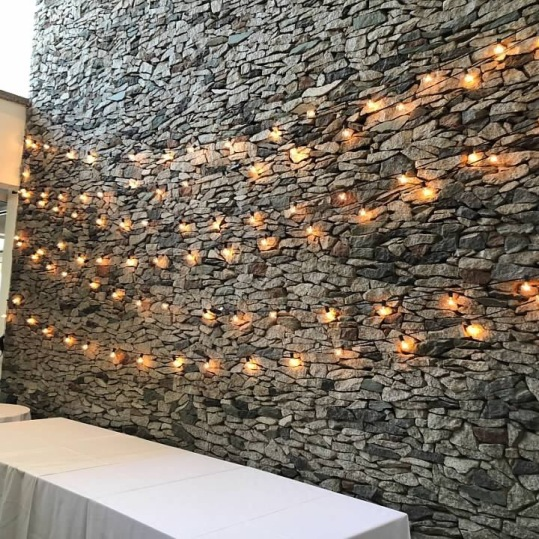 Rock-Wall Behind Entry Table
